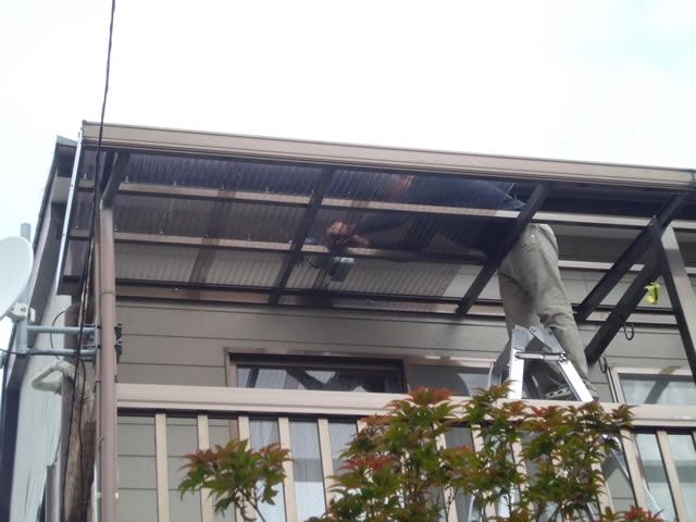 2階ベランダ テラス屋根材取替工事 施工例 名古屋