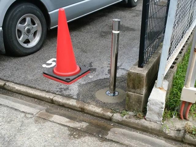 駐車場ポール取替工事 三協立山ビポール上下式 施工事例 名古屋市西区