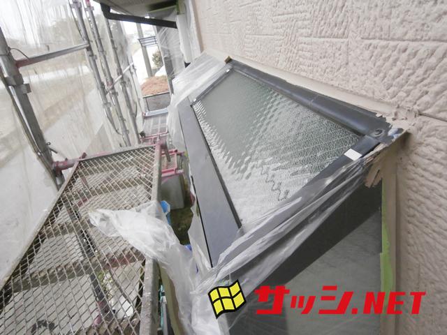 出窓の天端のガラス修理、交換 網入り型ガラス 施工事例 江南市