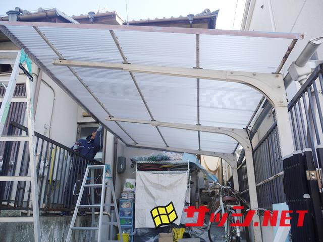 カーポート屋根の波板張替え工事 施工事例 名古屋市名東区