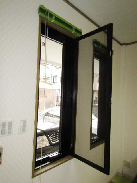名古屋市北区 片開き窓 防犯ガラス網戸付 取付工事 施工後