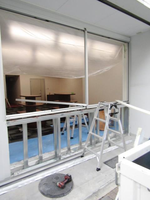 名古屋市中区 アルミサッシカバー工法 エントランス改修工事 施工中(外観)