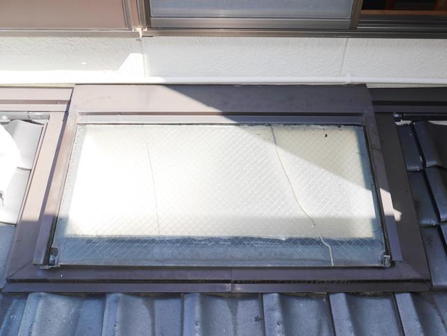 名古屋市中川区 トップライトガラス 割れ替え 修理 施工前③