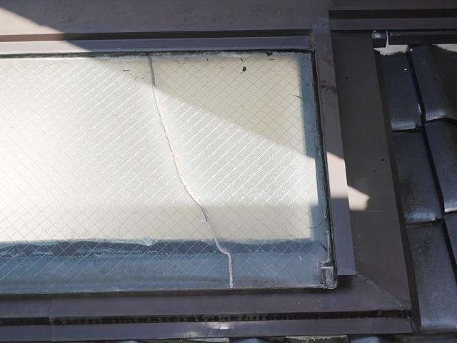 名古屋市中川区 トップライトガラス 割れ替え 修理 施工前②