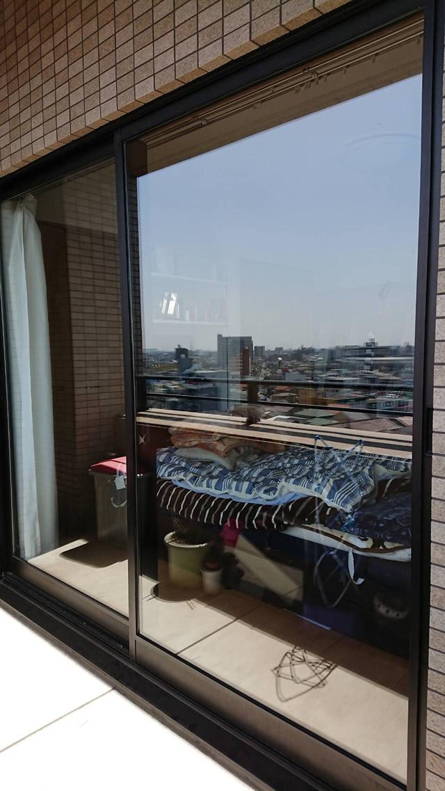 一宮市 某マンション 掃出し窓 ガラス割れ替え ペアガラス FL4-A6-FL4 施工後