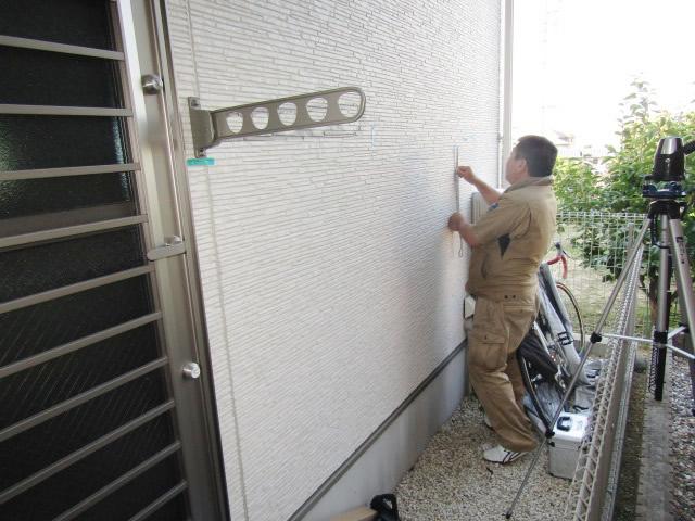 名古屋市緑区 リクシル 壁付き物干し 標準タイプ 495mm 施工中