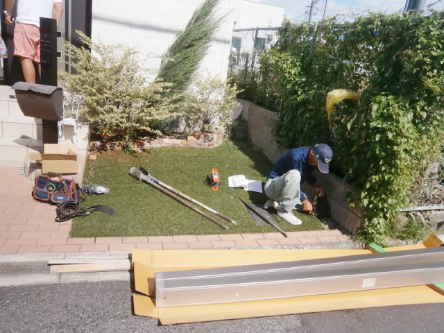 名古屋市南区 サイクルポート リクシル フーゴRミニ 18-22型 新設工事 施工前