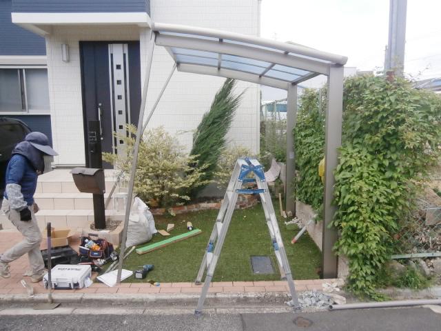 名古屋市南区 サイクルポート リクシル フーゴRミニ 18-22型 新設工事 施工中
