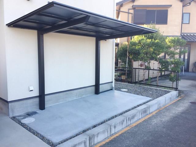 名古屋市千種区 サイクルポート新設 フーゴFミニ 土間打ち工事 施工後