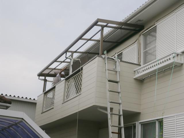 名古屋市中川区 ベランダ テラス波板屋根 張り替え工事 施工前