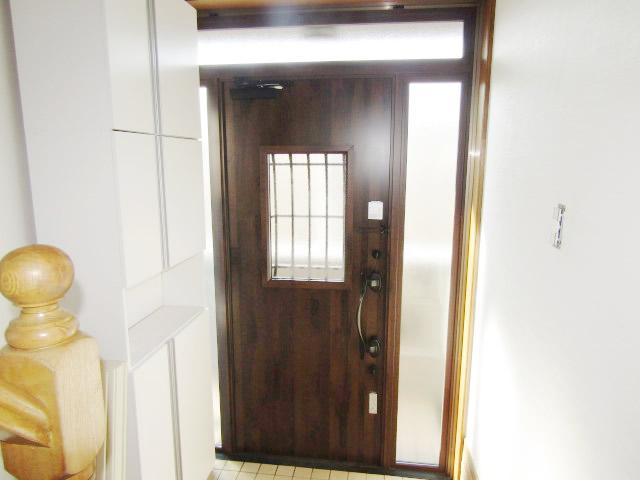 名古屋市港区 リクシル リシェント玄関ドア D44型 アンティークオーク カバー工法 施工後