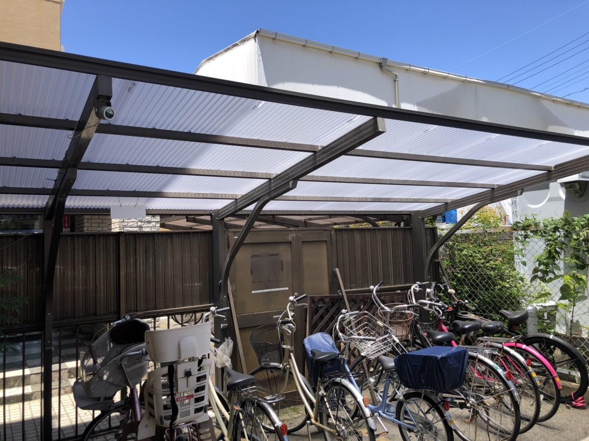 駐輪場サイクルポート屋根交換 名古屋市駐輪場の波板ポリカを取替えします!