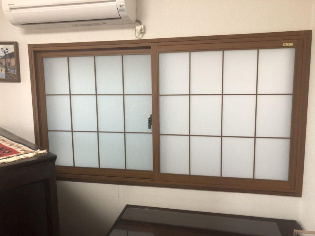 名古屋市西区内窓工事 和紙調硝子と組子入りのリクシル製インプラスにて施工を行いました 名古屋市西区