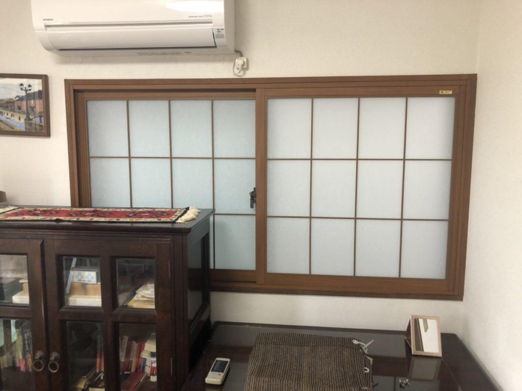 名古屋市西区 内窓工事 リクシル製インプラス(和紙調硝子と組子入り)の施工を行いました