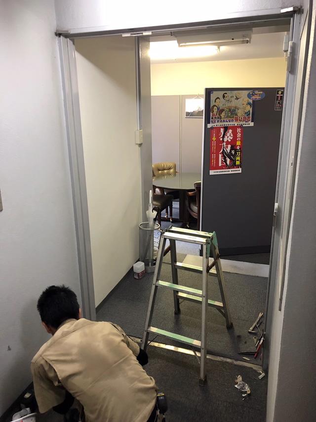 名古屋市中区 スチールドア(SD)→ 軽量スチールドア(LSD)取り替え工事 施工中