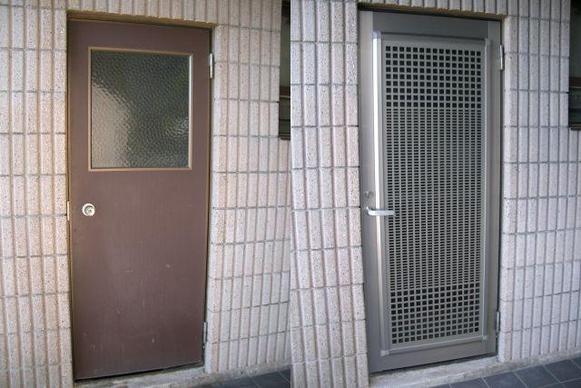 勝手口ドアリフォーム 網戸付 名古屋市