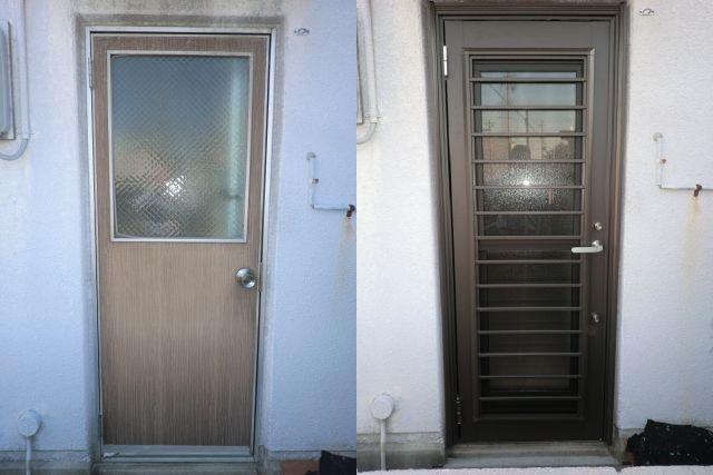 勝手口ドアのリフォーム 1ドア2ロックで防犯対策 名古屋市
