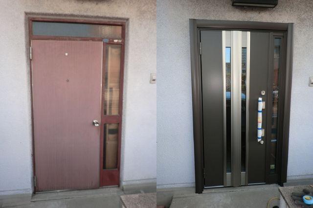 玄関ドアのリフォーム 1ドア2ロック 名古屋市