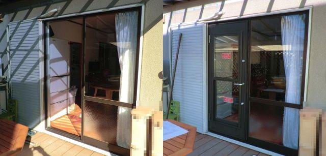 引違い窓を勝手口ドアへ取替工事 名古屋市