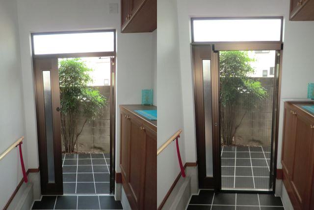 玄関ドア網戸取付 しまえるんですα 名古屋市