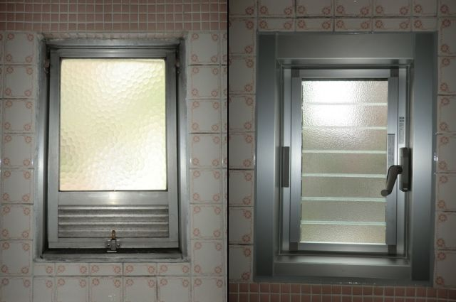 浴室窓取替え工事 カバー工法 名古屋市