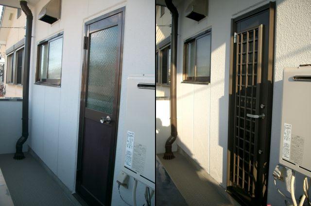 勝手口ドア取替え工事 トステム製リシェント 名古屋市