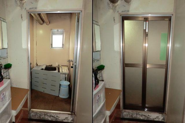 トステム製 浴室中折れドア取替工事 名古屋市