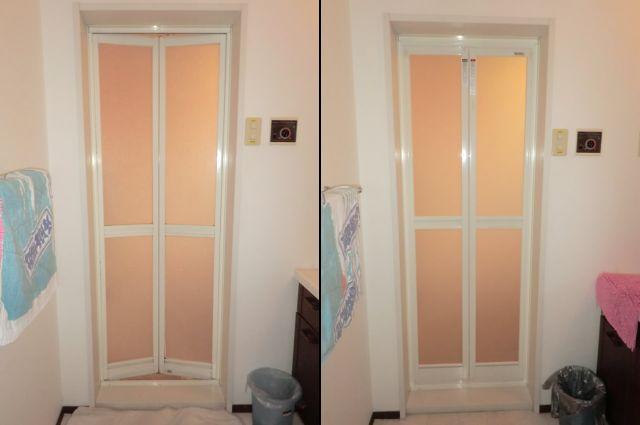 浴室中折れドア取替工事 名古屋市