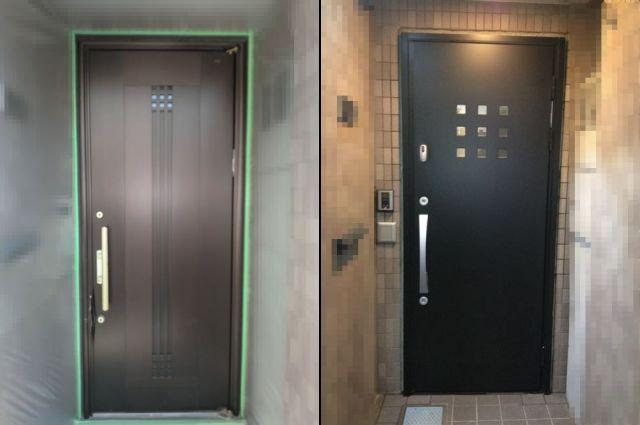 バールによるこじ開け 玄関ドア取替工事 名古屋市