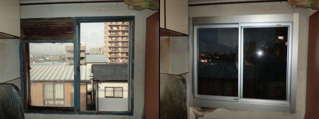 スチール製サッシからアルミ製サッシへの取替工事 カバー工法 稲沢市