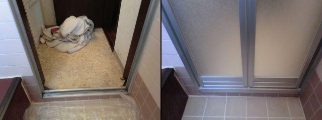 浴室中折れドア取替工事 カバー工法 名古屋市