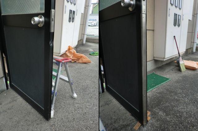 バール等のこじ開け対策に ガードプレート取付工事 名古屋市