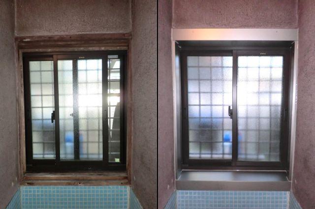浴室木額縁にアルミ曲物取付工事 稲沢市