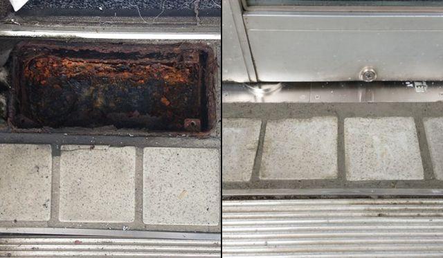 フロアヒンジ修理、交換 片開き框ドア 名古屋市