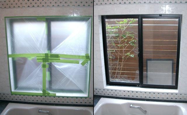 複層ガラス修理、交換 浴室ガラス割替工事 日進市
