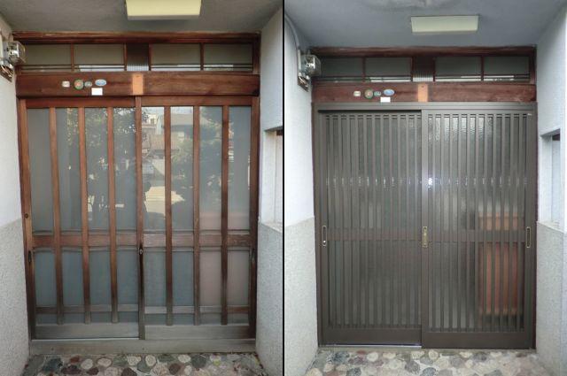 1ドア2ロック 木製ドア取替工事 トステム製 玄関引戸 菩提樹 名古屋市