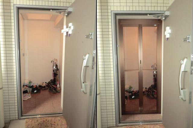 玄関ドアに中折れ網戸取付工事 名古屋市