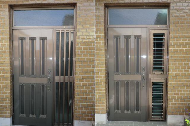 玄関ドアの風通し 袖FIX窓をルーバー窓へ取替工事 名古屋市