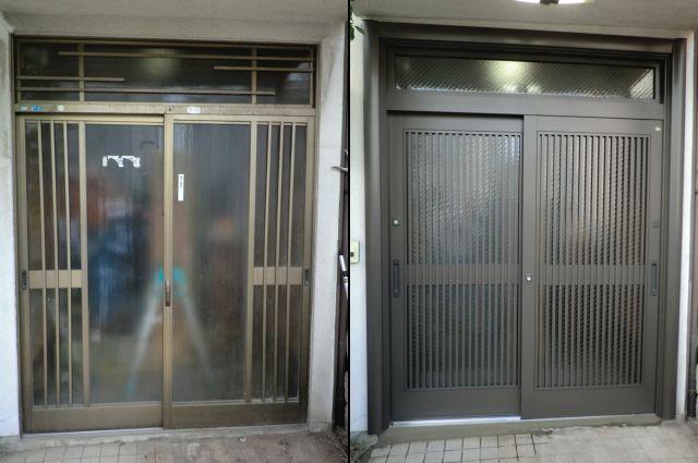 玄関引戸交換工事 トステム製リシェント カバー工法 名古屋市
