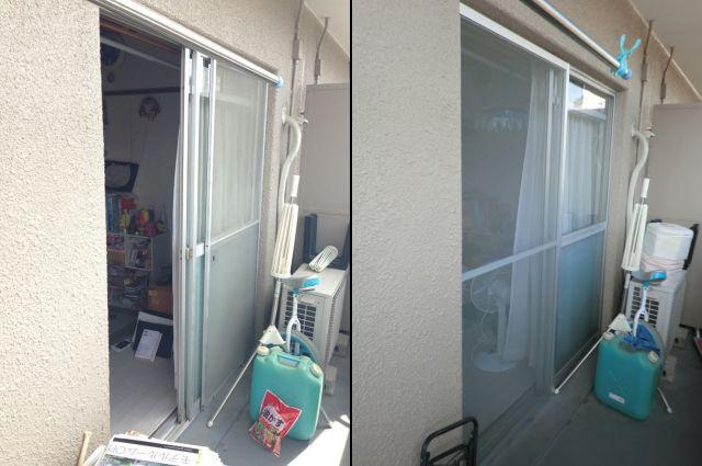網戸取替工事 ベランダ掃出し窓 可動網戸 名古屋市