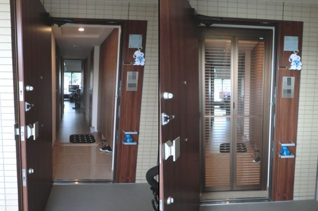 玄関ドア網戸取付工事 中折網戸NHM型 格子タイプ 名古屋市