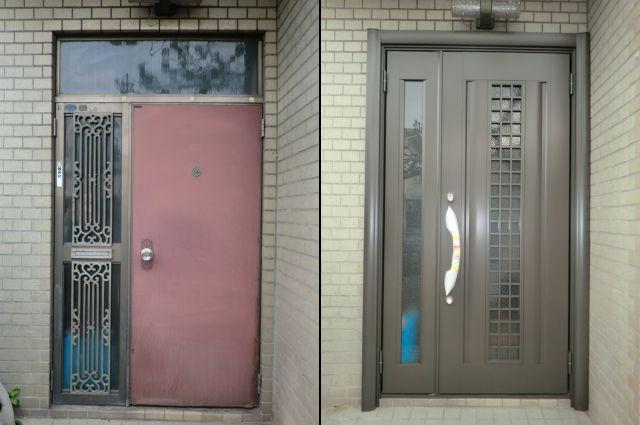 玄関ドアリフォーム工事 トステム製 玄関ドア リシェント 名古屋市