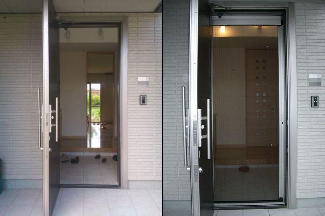 玄関ドアに横引き収納網戸 トステム製 しまえるんですα 津島市