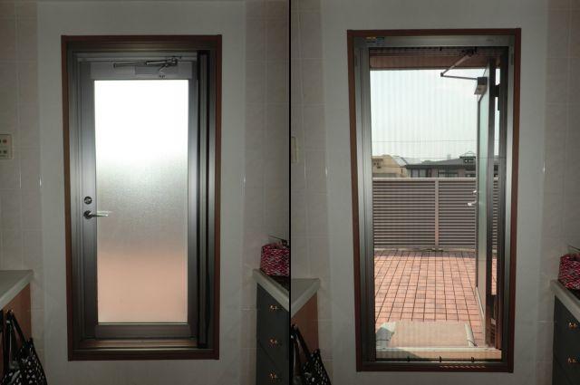 キッチン片開き窓に 横引き収納網戸 アルマーデIII 名古屋市