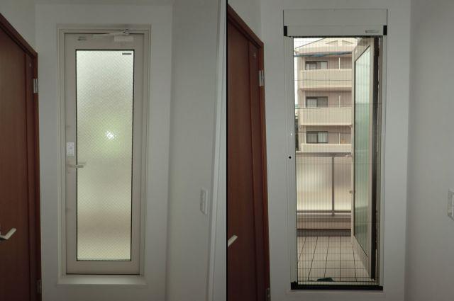 バルコニー用ドアに網戸取付工事 トステム製 しまえるんですα 名古屋市