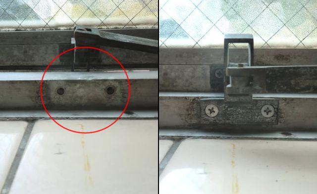 サッシ修理、交換 すべり出し窓金具再取付け工事 大府市