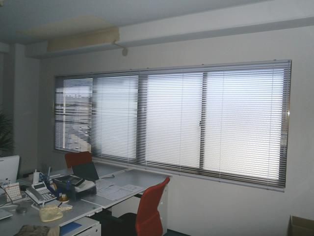 事務所窓にブラインド取付工事 タチカワブラインド シルキー 名古屋市