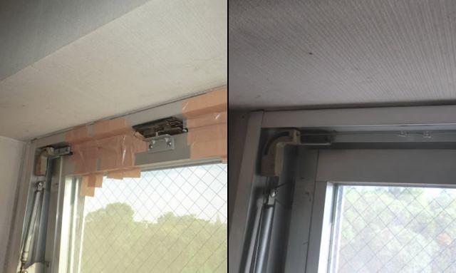 サッシ修理 連窓内倒し窓排煙装置の修理 名古屋市