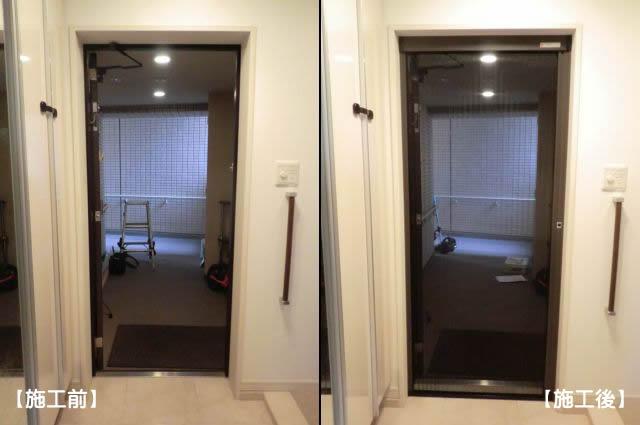 マンション玄関ドアに網戸取付工事 しまえるんですα 名古屋市