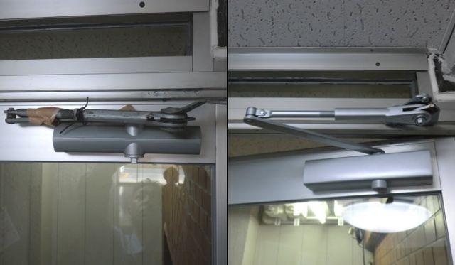 アルミ框ドアのドアクローザー修理、交換 名古屋市